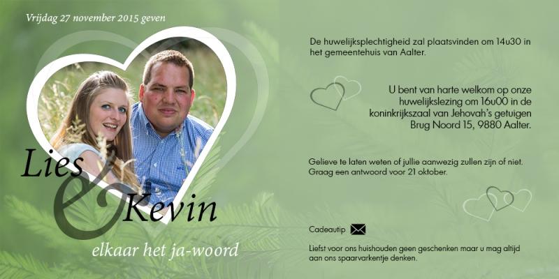 Huwelijksinvitatie Lies and Kevin